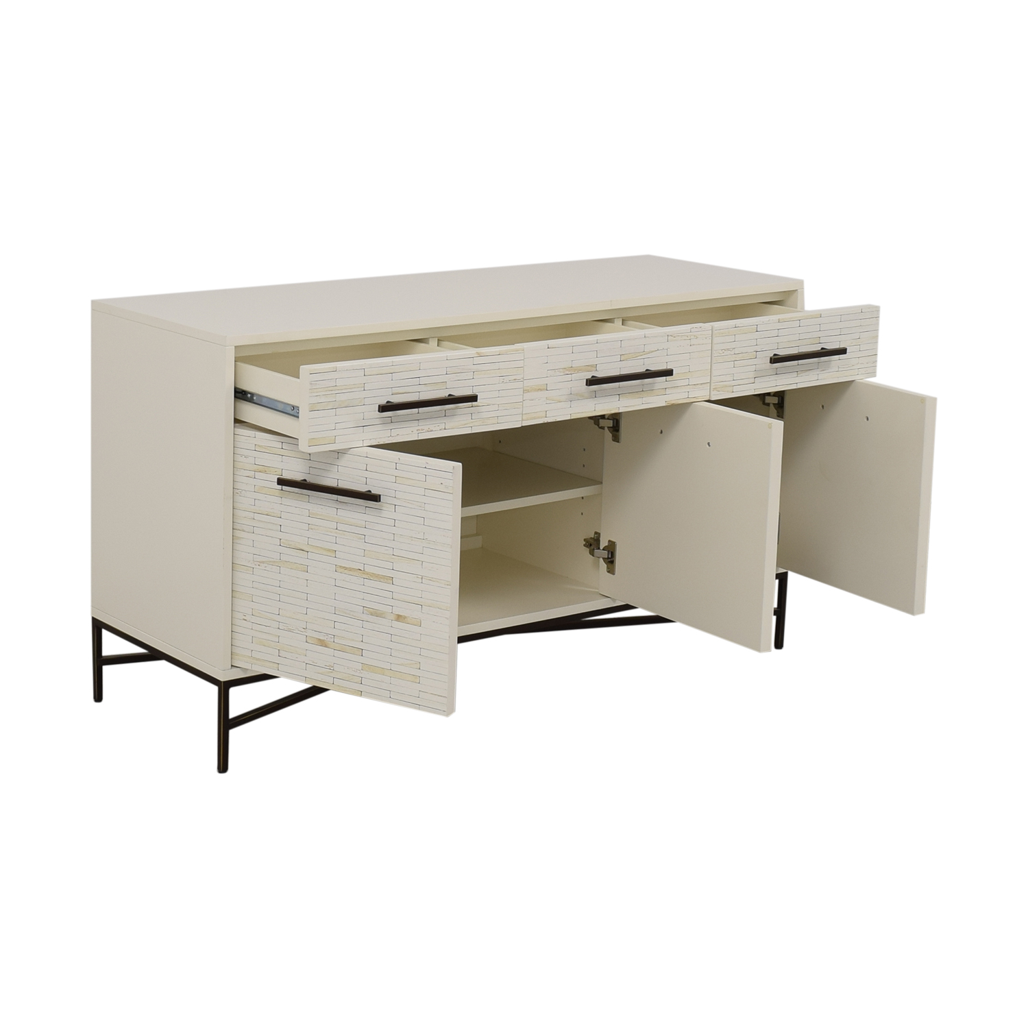 West Elm West Elm White Three-Drawer Wood Tiled Media Console second hand