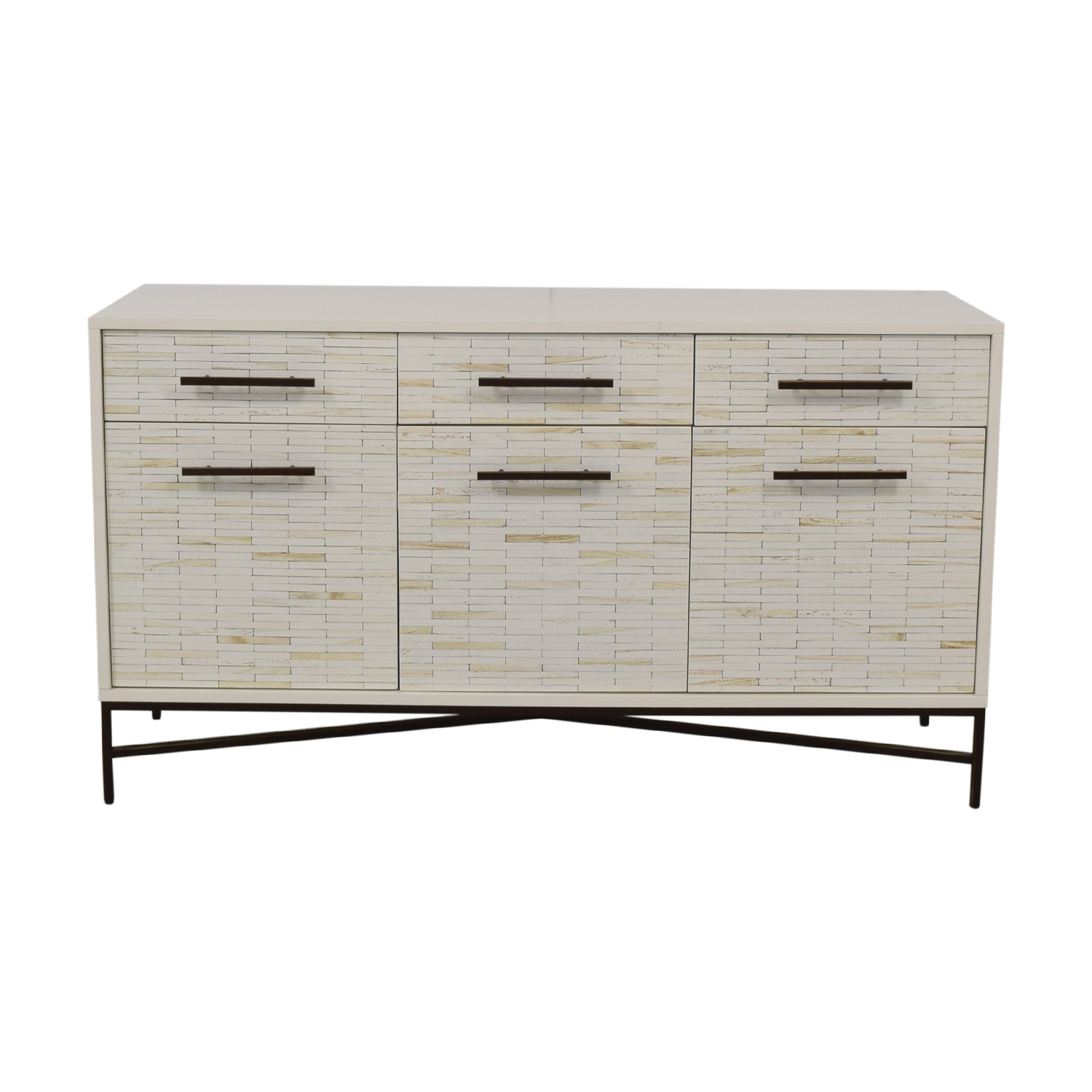 West Elm West Elm White Three-Drawer Wood Tiled Media Console discount