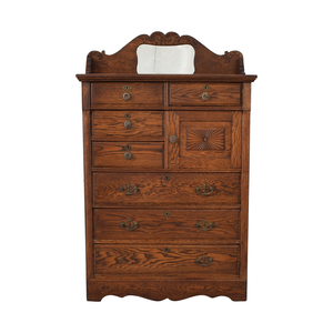 buy Seven-Drawer Wood Tall Dresser with Mirror