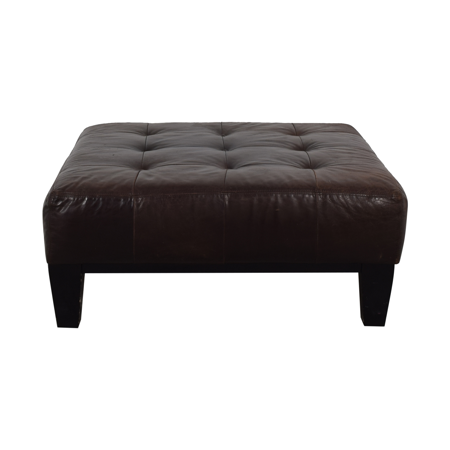Pottery Barn Pottery Barn Brown Tufted Ottoman dimensions