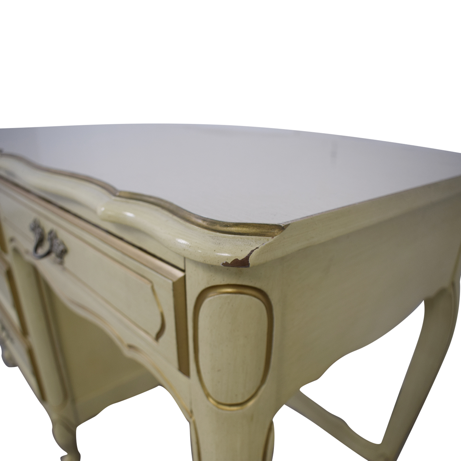 Creme Four-Drawer Desk second hand