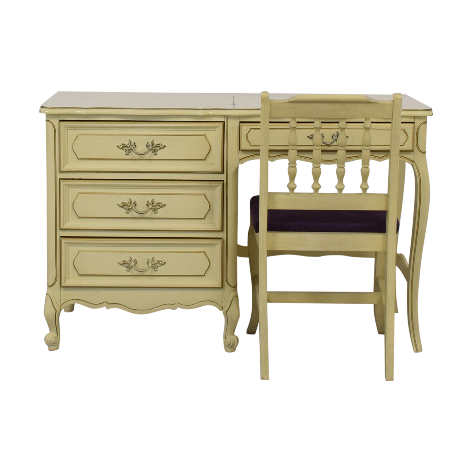 Creme Four-Drawer Desk on sale