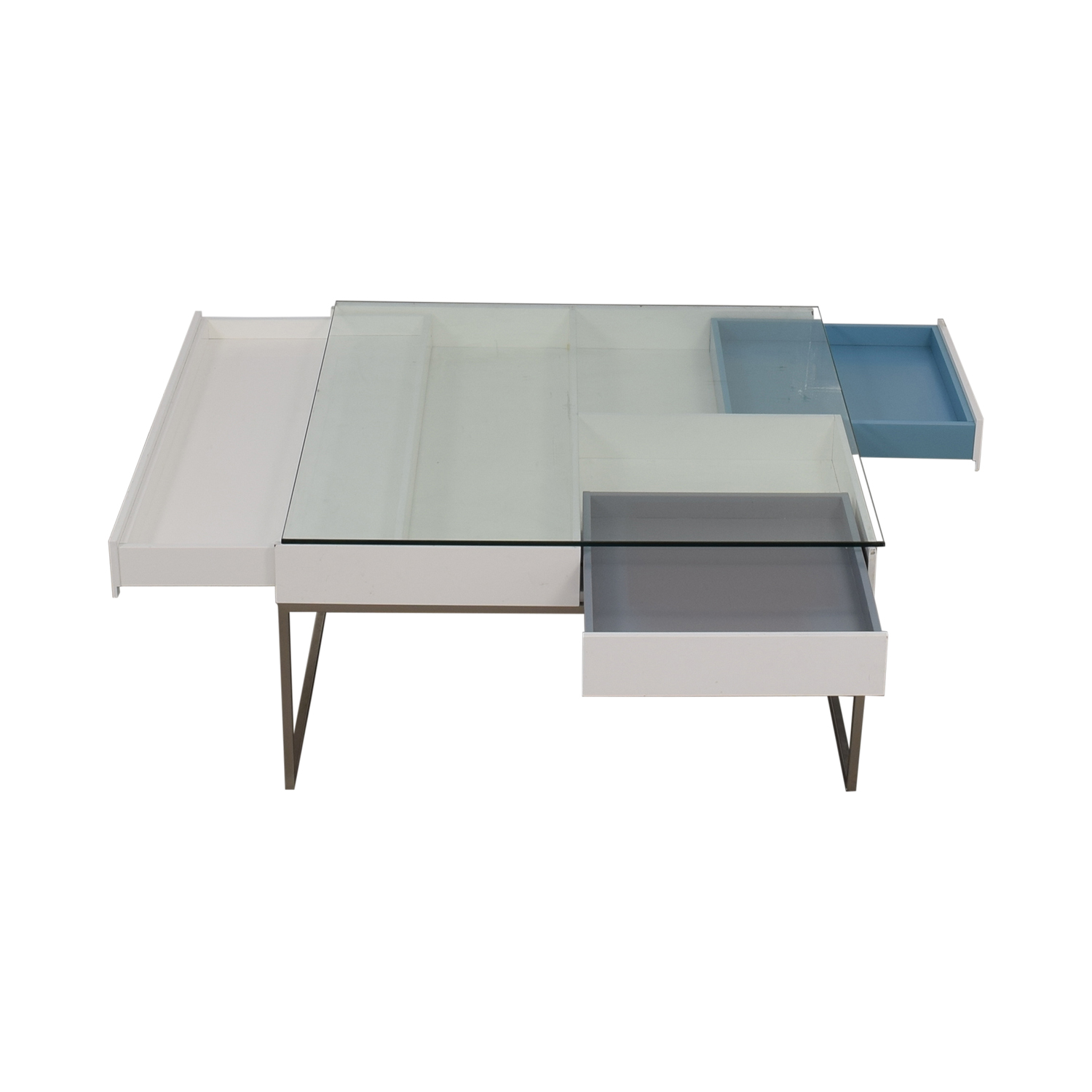 BoConcept BoConcept Chiva Glass and White Lacquered Coffee Table Coffee Tables