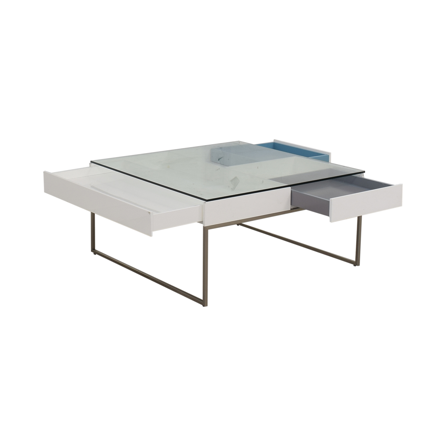 BoConcept BoConcept Chiva Glass and White Lacquered Coffee Table gray white and blue