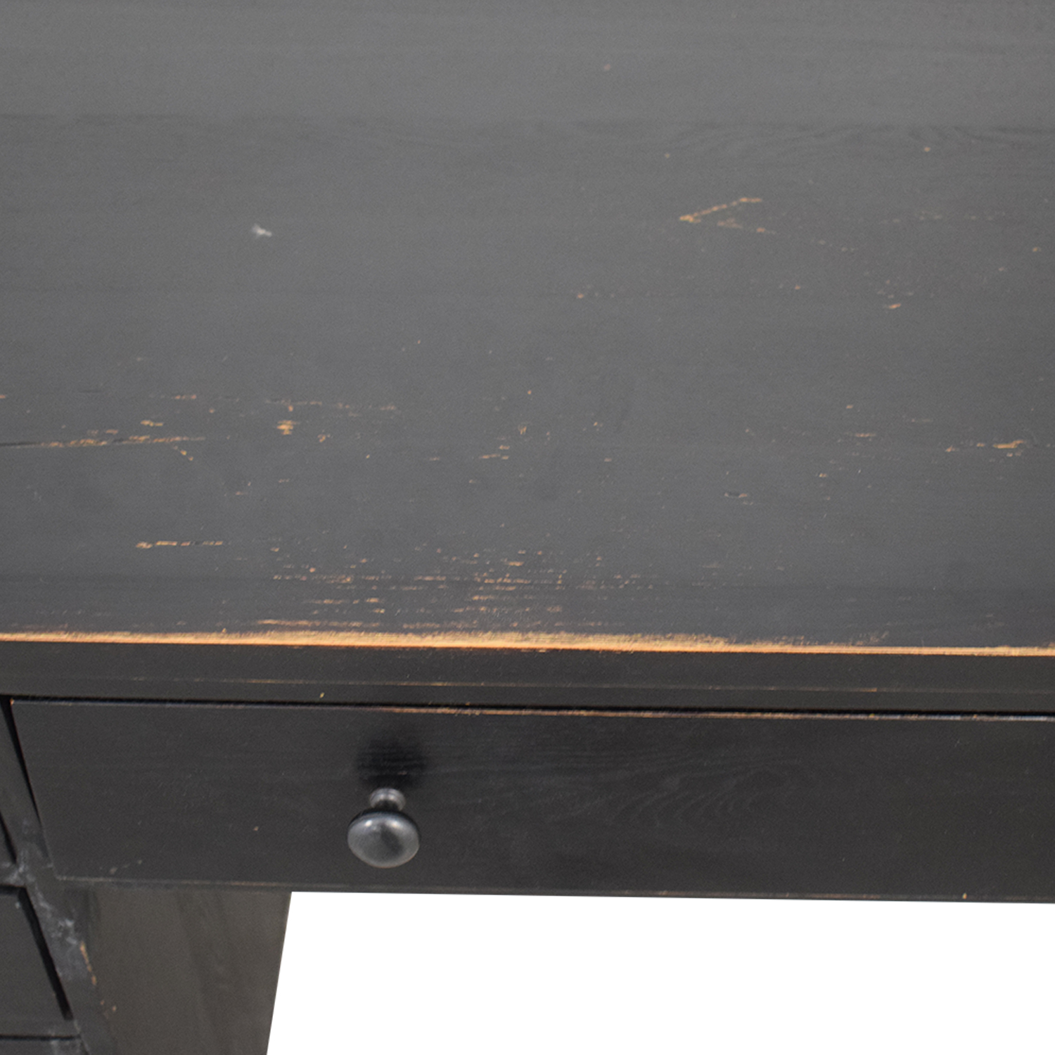 Black Four Drawer Desk with Keyboard Tray and Storage nj