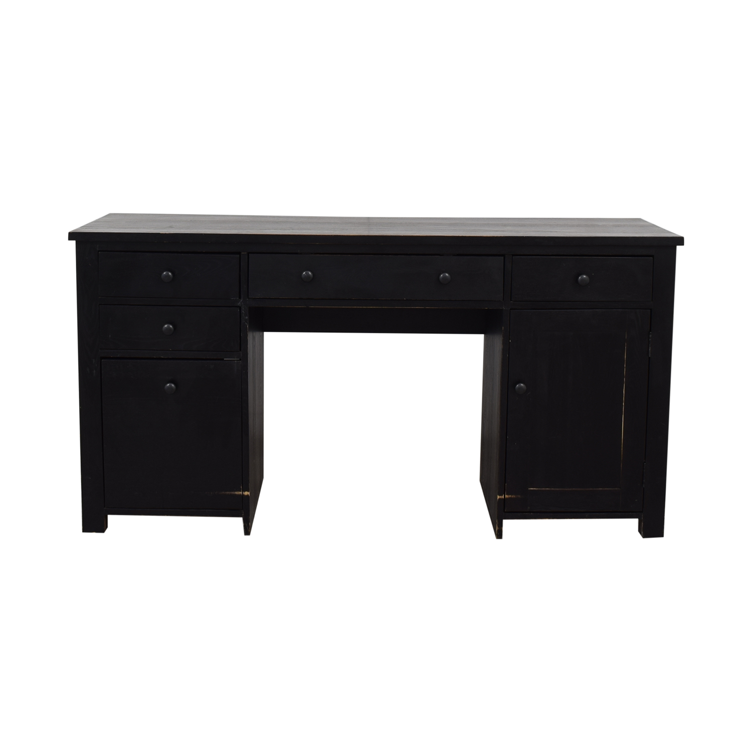 Black Four Drawer Desk with Keyboard Tray and Storage Home Office Desks