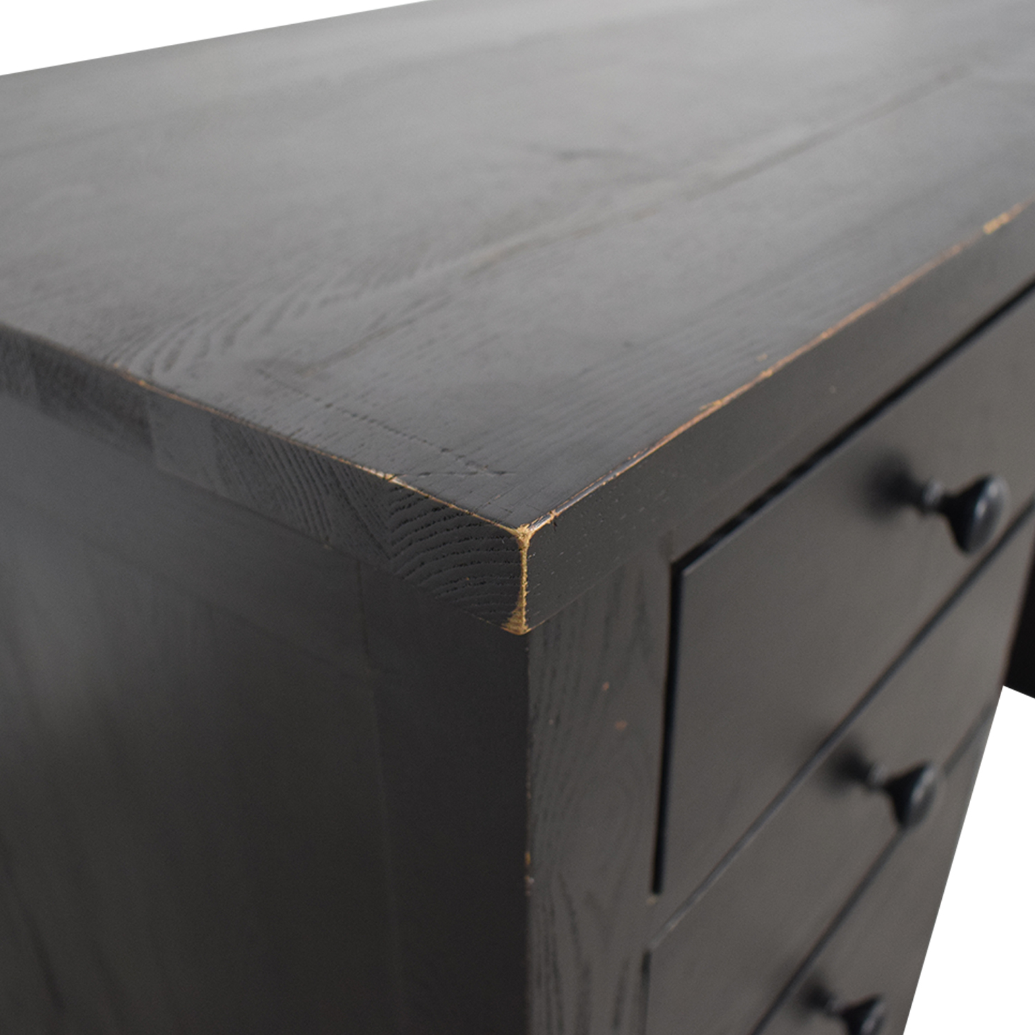 Black Four Drawer Desk with Keyboard Tray and Storage