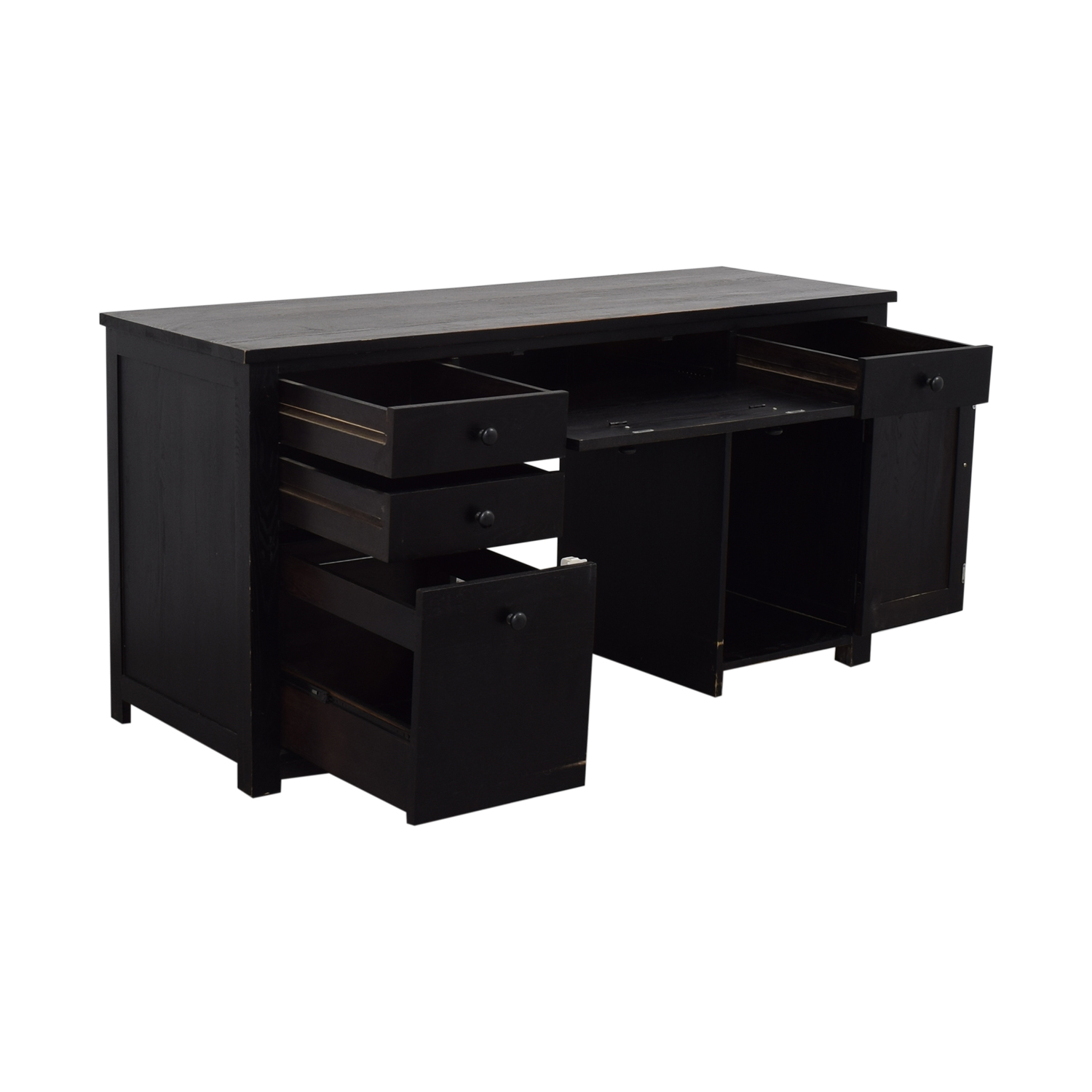 Black Four Drawer Desk with Keyboard Tray and Storage / Home Office Desks