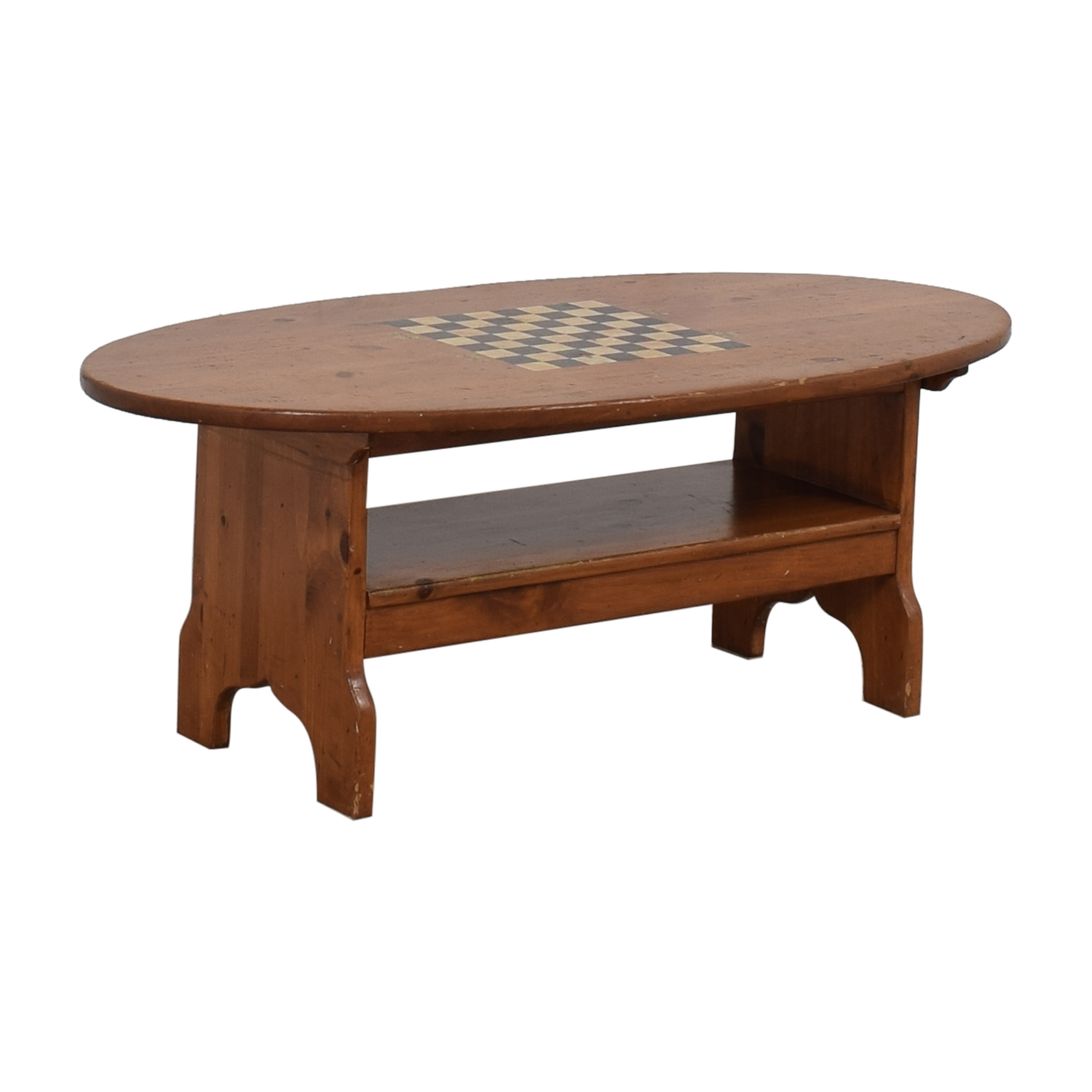 Wood Checkerboard Coffee Table second hand
