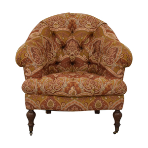 Paisley Floral Upholstered Accent Chair with Castors second hand
