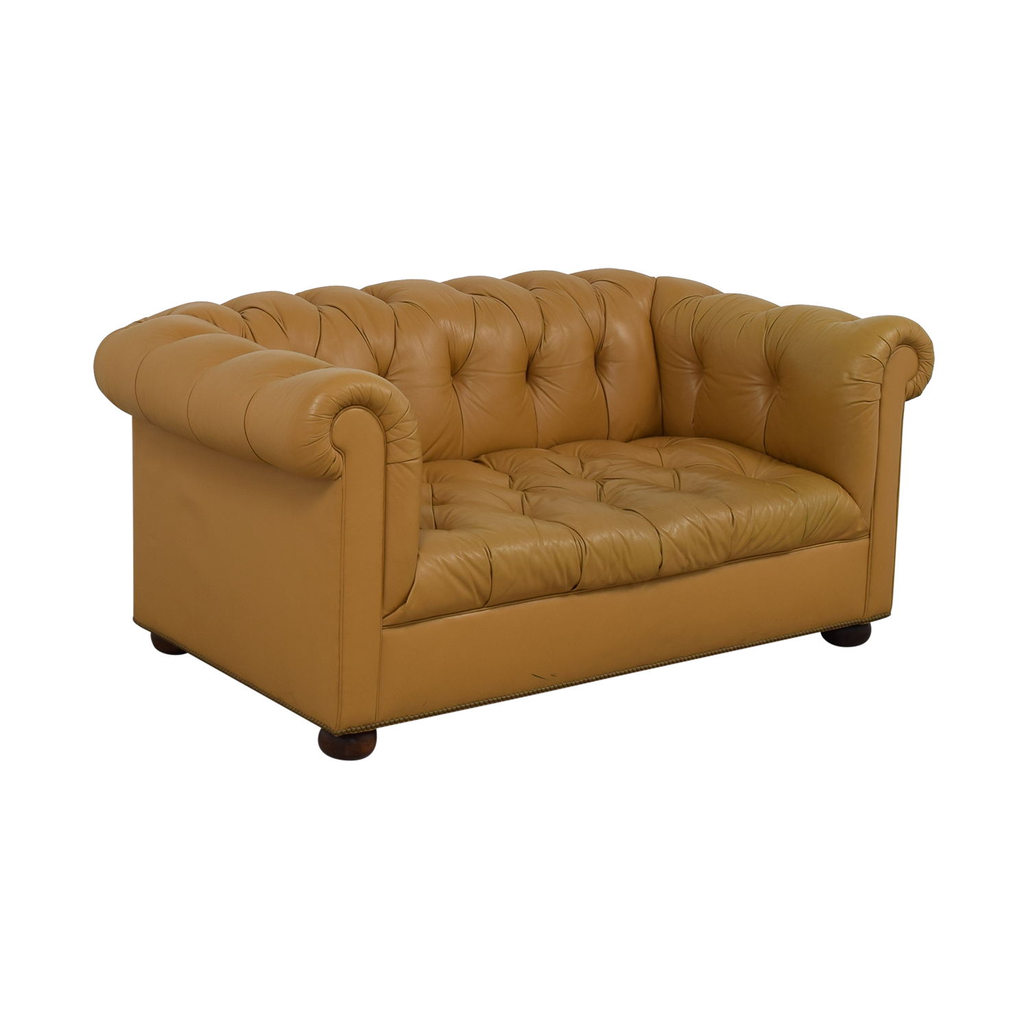 Tan Tufted Single-Cushion Couch Loveseats