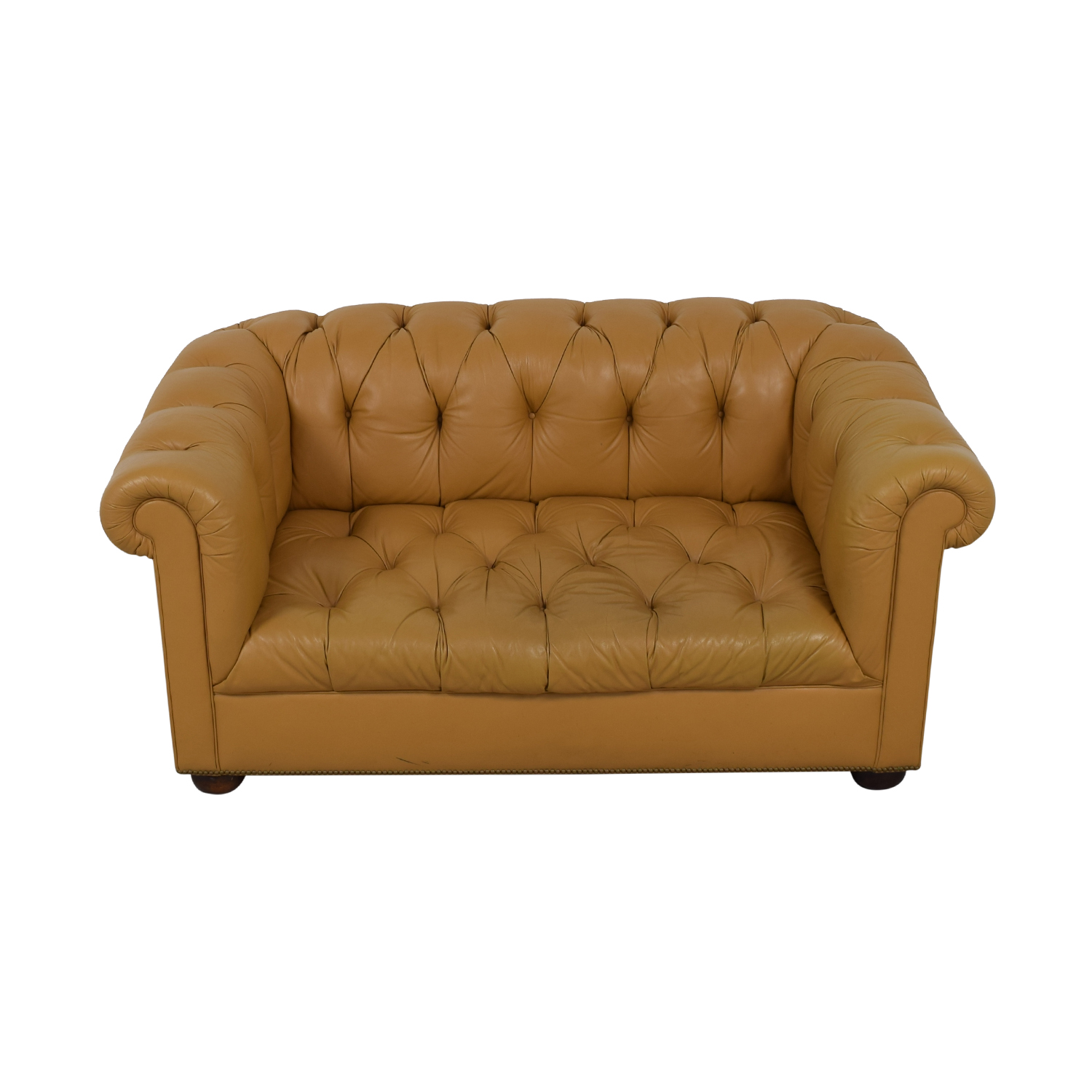Tan Tufted Single-Cushion Couch