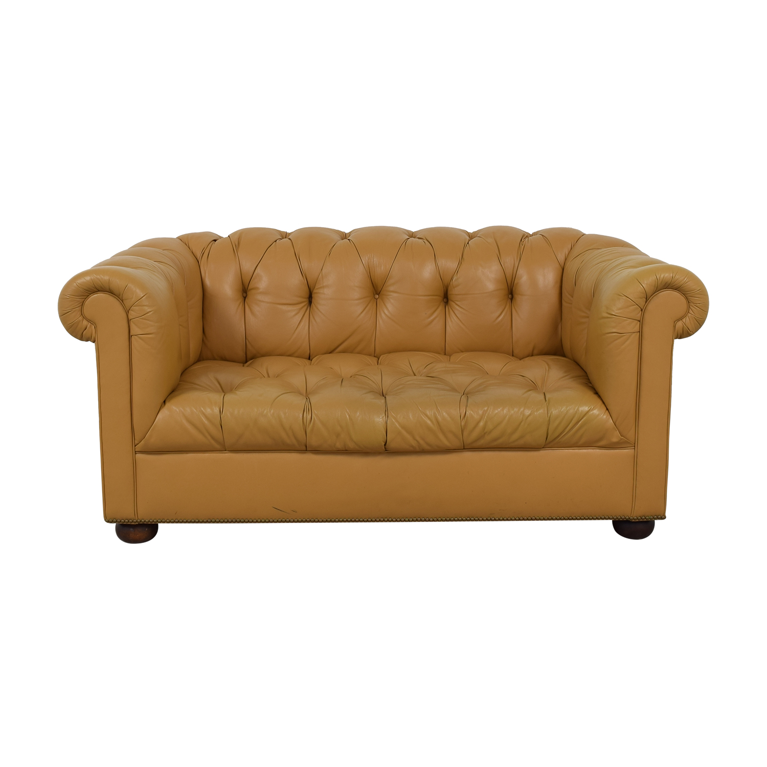Tan Tufted Single-Cushion Couch discount