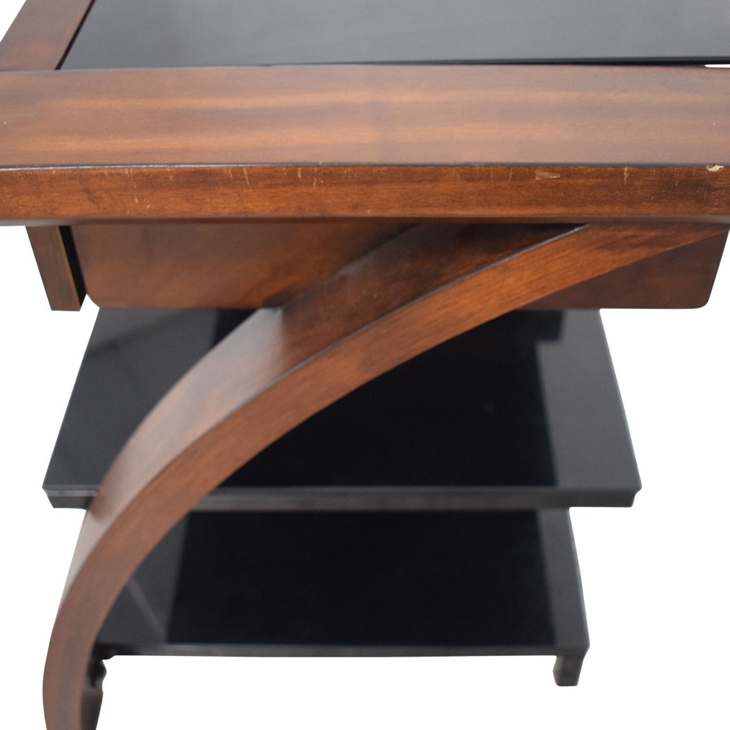 Whalen Furniture Whalen Furniture Black Glass and Wood Entertainment Center nyc