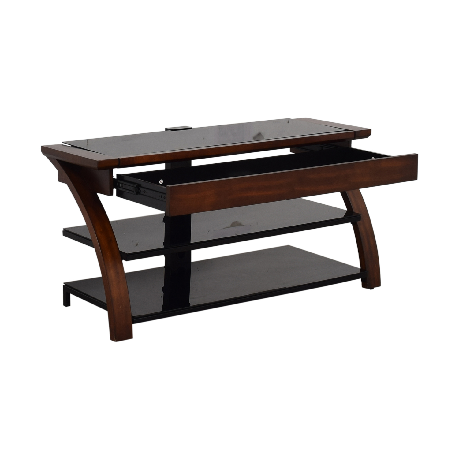 Whalen Furniture Black Glass and Wood Entertainment Center sale