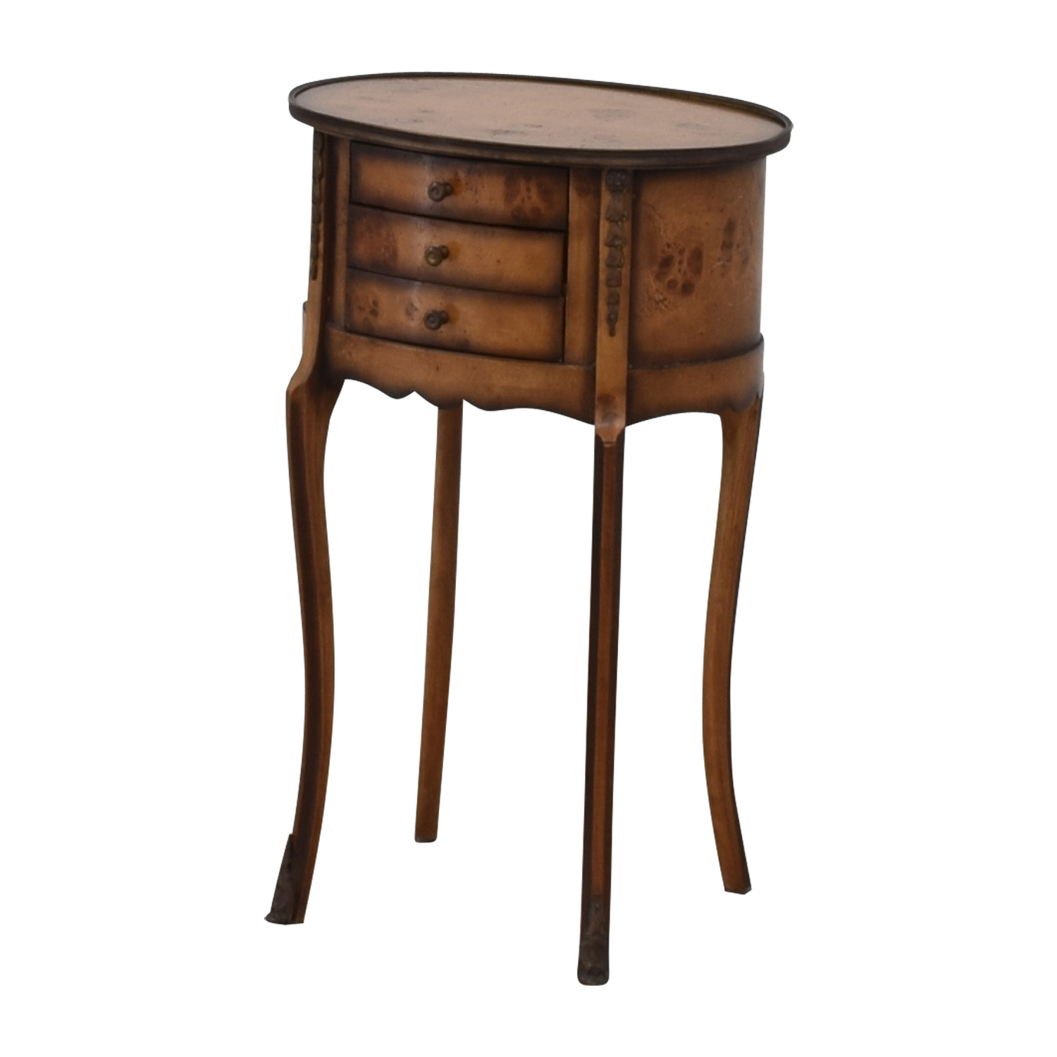 60 Off Rustic Round Three Drawer Side Table Tables