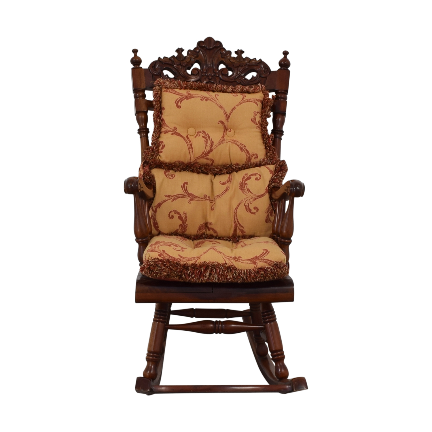 90 Off Carved Wood Rocking Chair With Cushions Chairs