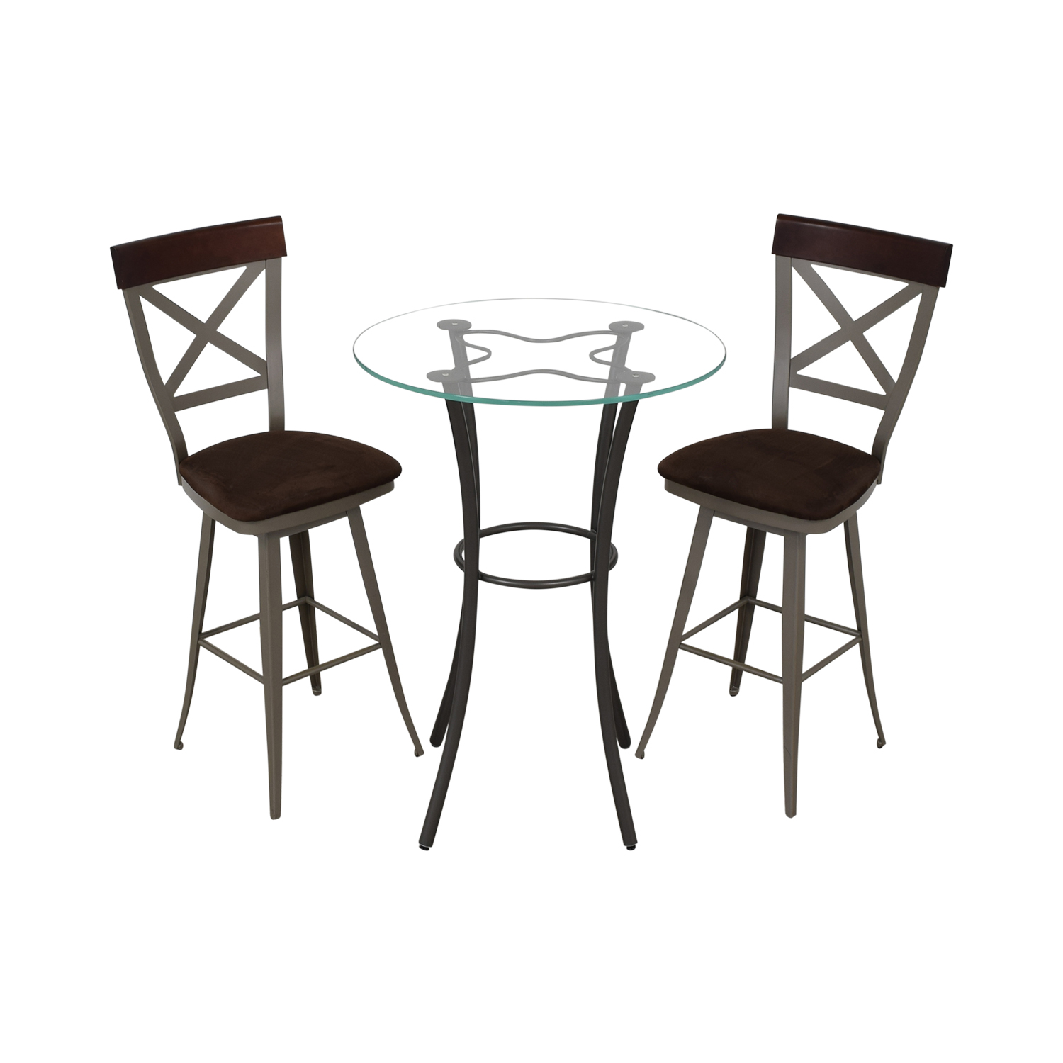 shop Amisco Glass Top Pub Table Set Amisco Tables