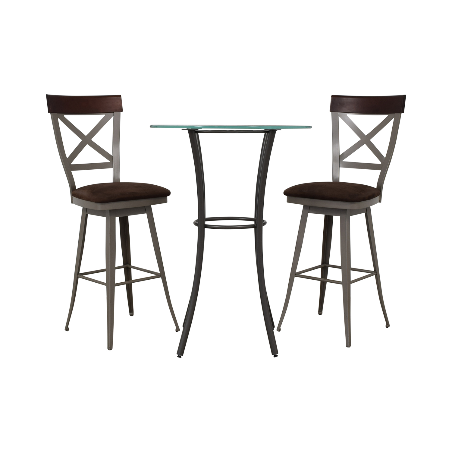 Amisco Glass Top Pub Table Set / Dining Sets