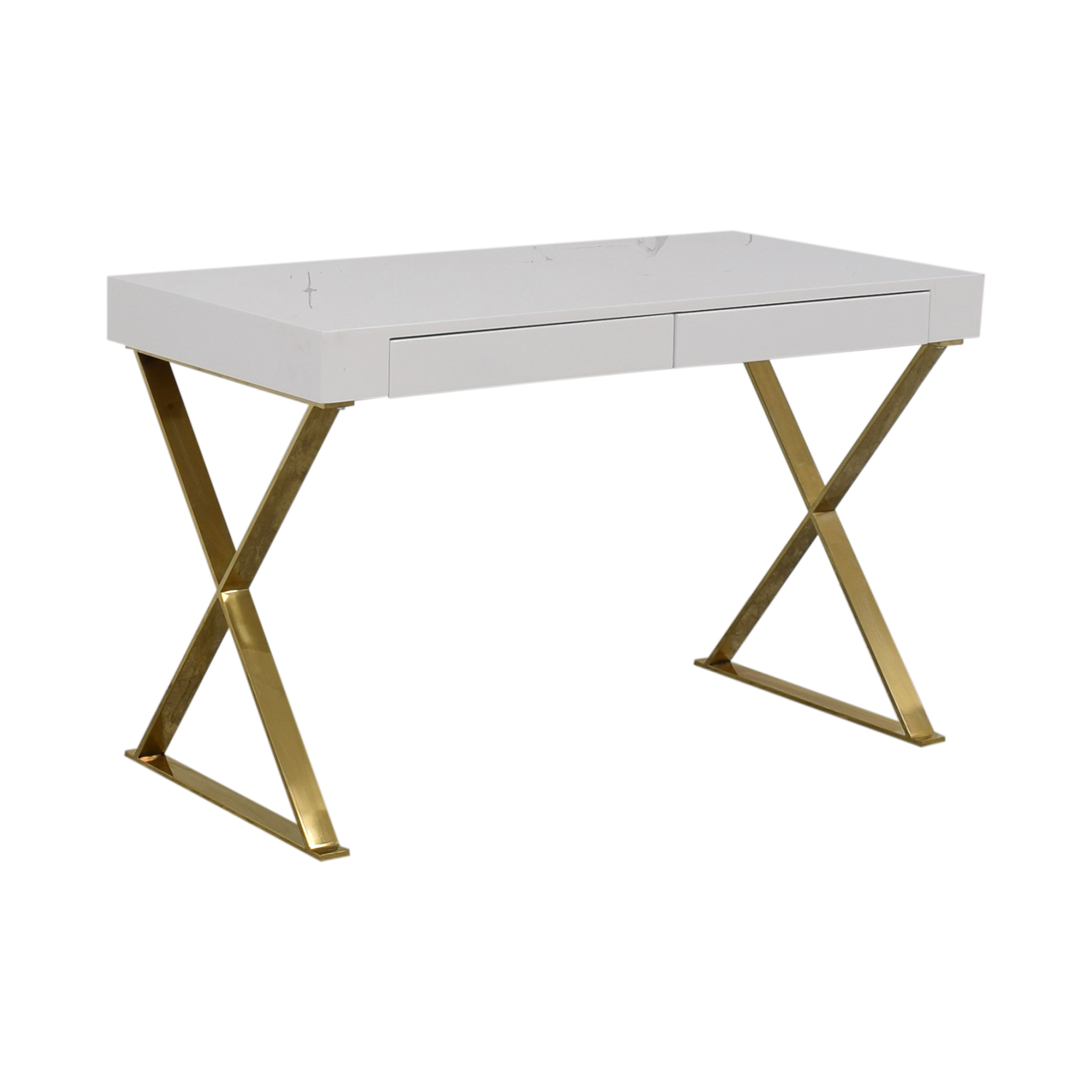 buy Wade Logan Roreti White Two-Drawer Desk Wade Logan Tables