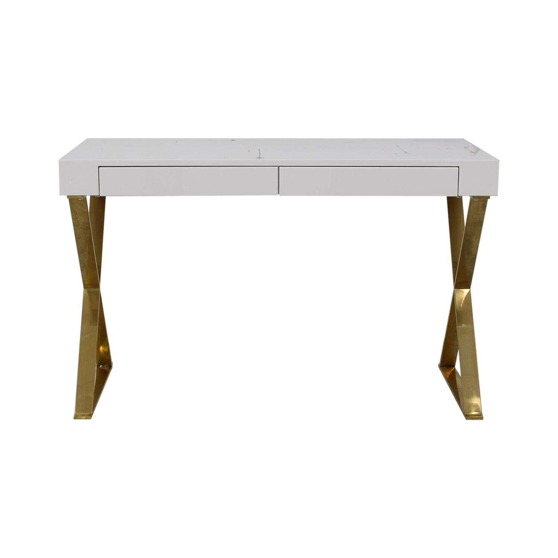 Wade Logan Wade Logan Roreti White Two-Drawer Desk for sale