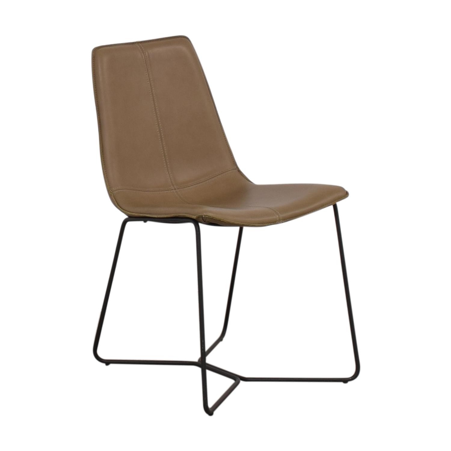 West Elm Leather Slope Dining Chair sale