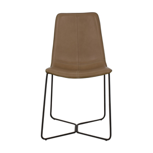 West Elm West Elm Leather Slope Dining Chair used