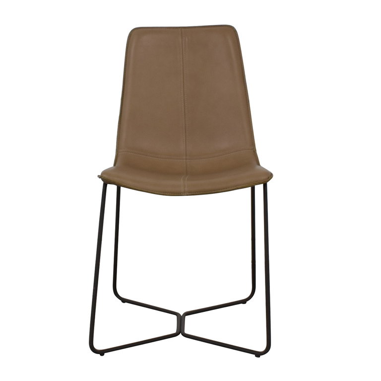 West Elm West Elm Leather Slope Dining Chair second hand