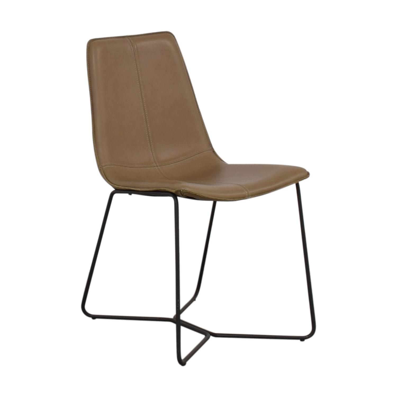 West Elm West Elm Leather Slope Dining Chair nj