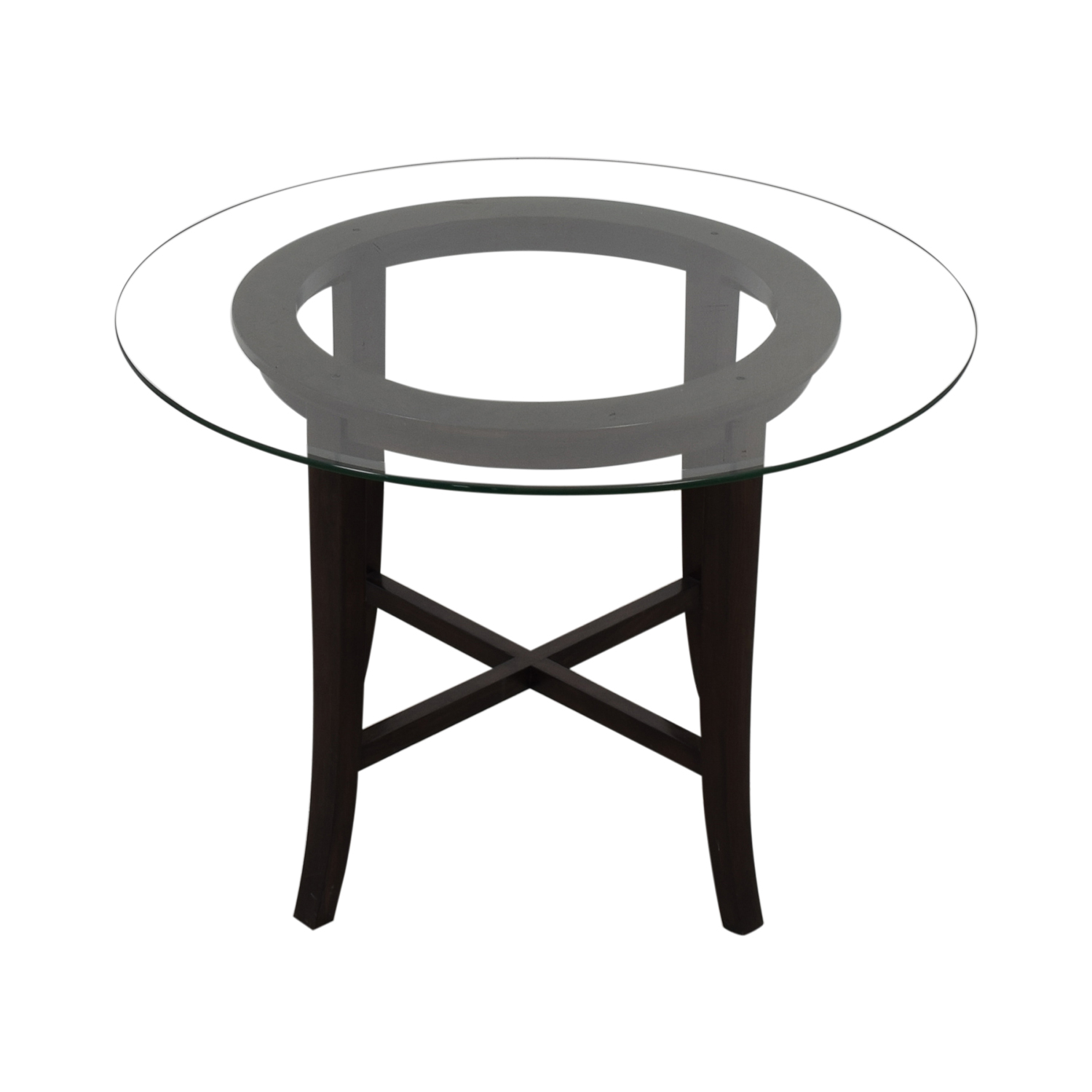 Crate & Barrel Crate & Barrel Halo Glass and Wood Dining Table on sale