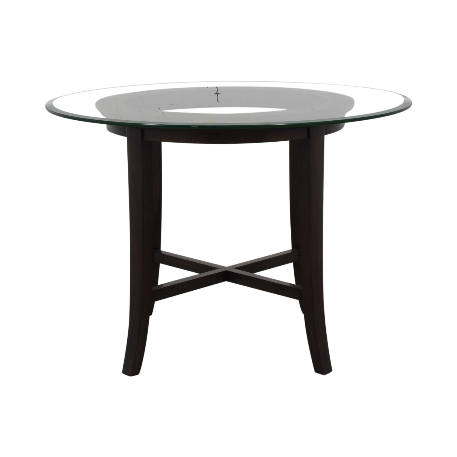 Crate & Barrel Crate & Barrel Halo Glass and Wood Dining Table brown