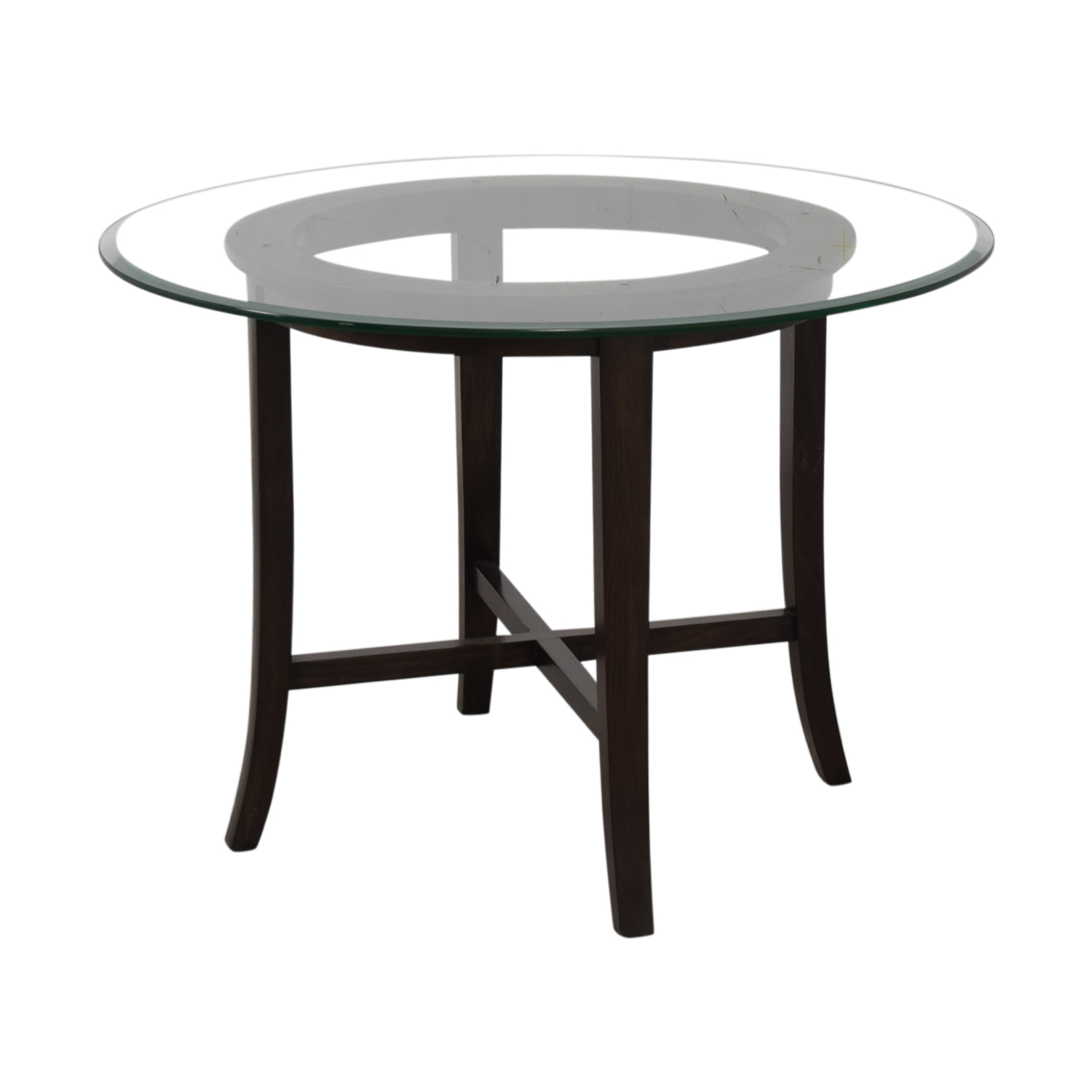 shop Crate & Barrel Halo Glass and Wood Dining Table Crate & Barrel Tables