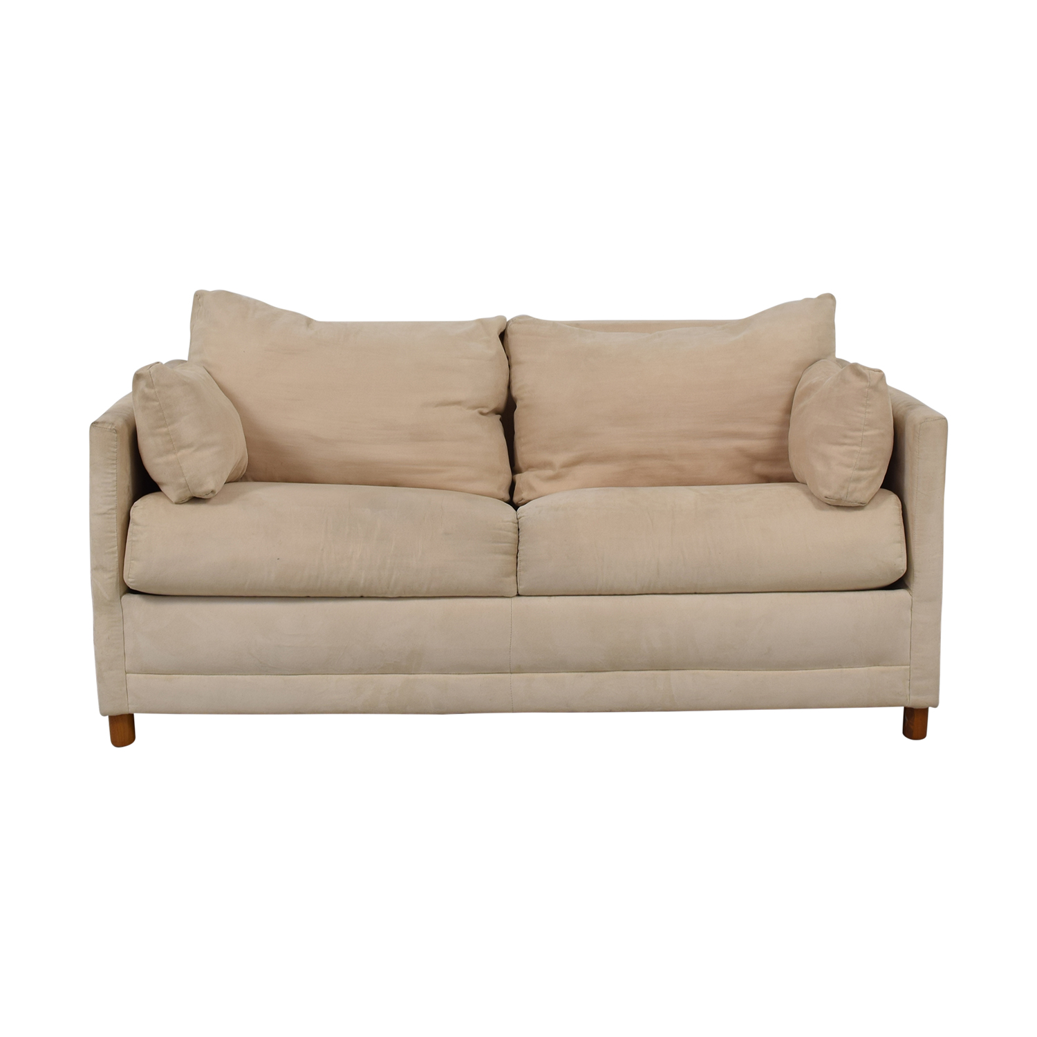 83% OFF - CB2 CB2 Beige Two-Cushion Convertible Sleeper Sofa / Sofas
