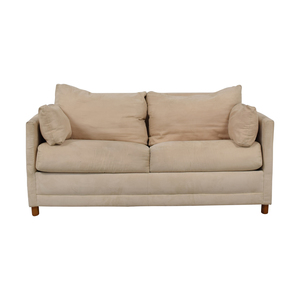CB2 CB2 Beige Two-Cushion Convertible Sleeper Sofa used