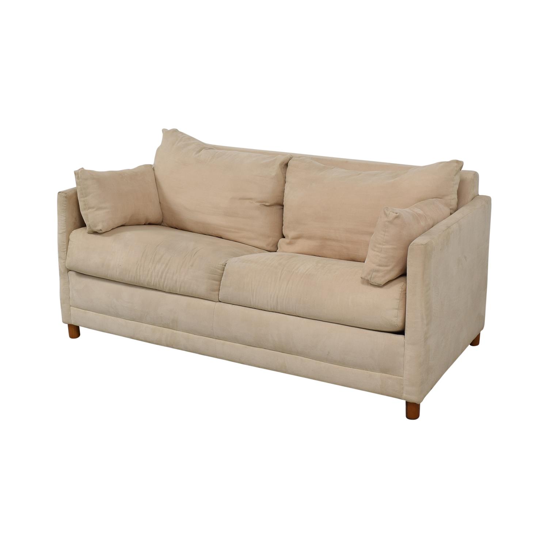 Beige Sleeper Sofa: CB2 CB2 Beige Two-Cushion Convertible Sleeper