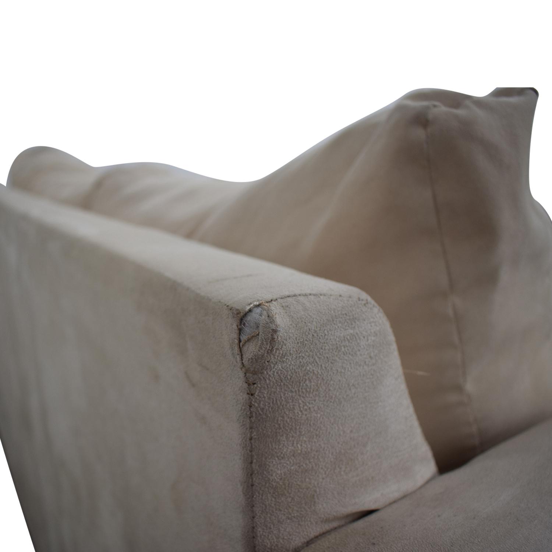 CB2 Beige Two-Cushion Convertible Sleeper Sofa / Classic Sofas