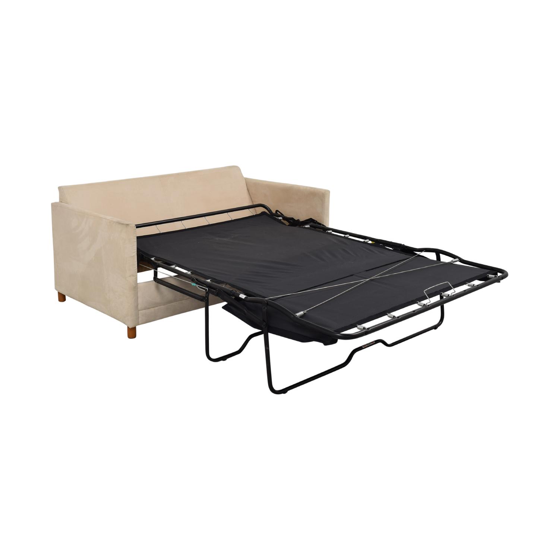 buy CB2 Beige Two-Cushion Convertible Sleeper Sofa CB2 Sofas