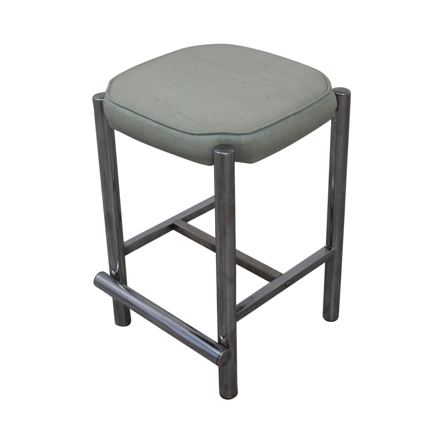 Chrome and Sage Green Upholstered Counter Stools nyc