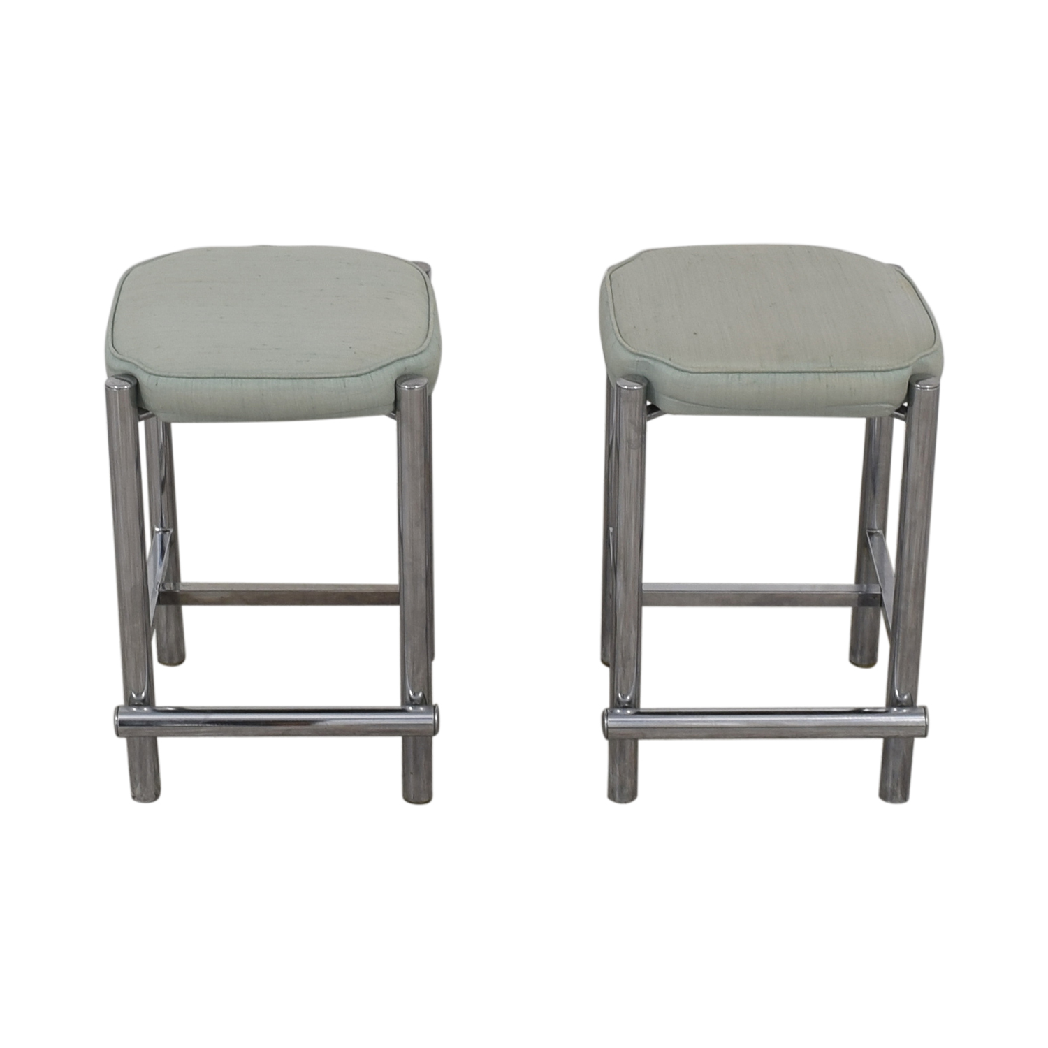 Chrome and Sage Green Upholstered Counter Stools / Chairs