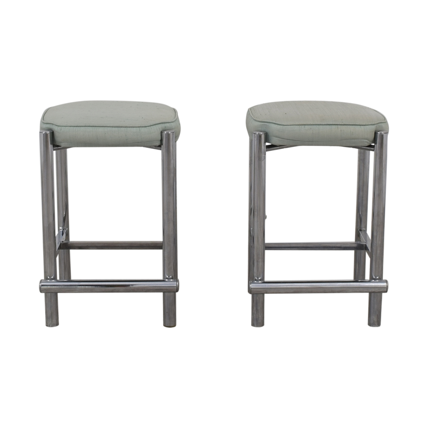 buy Chrome and Sage Green Upholstered Counter Stools  Chairs