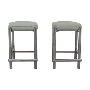 Chrome and Sage Green Upholstered Counter Stools dimensions