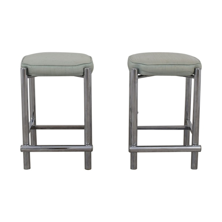 Chrome and Sage Green Upholstered Counter Stools