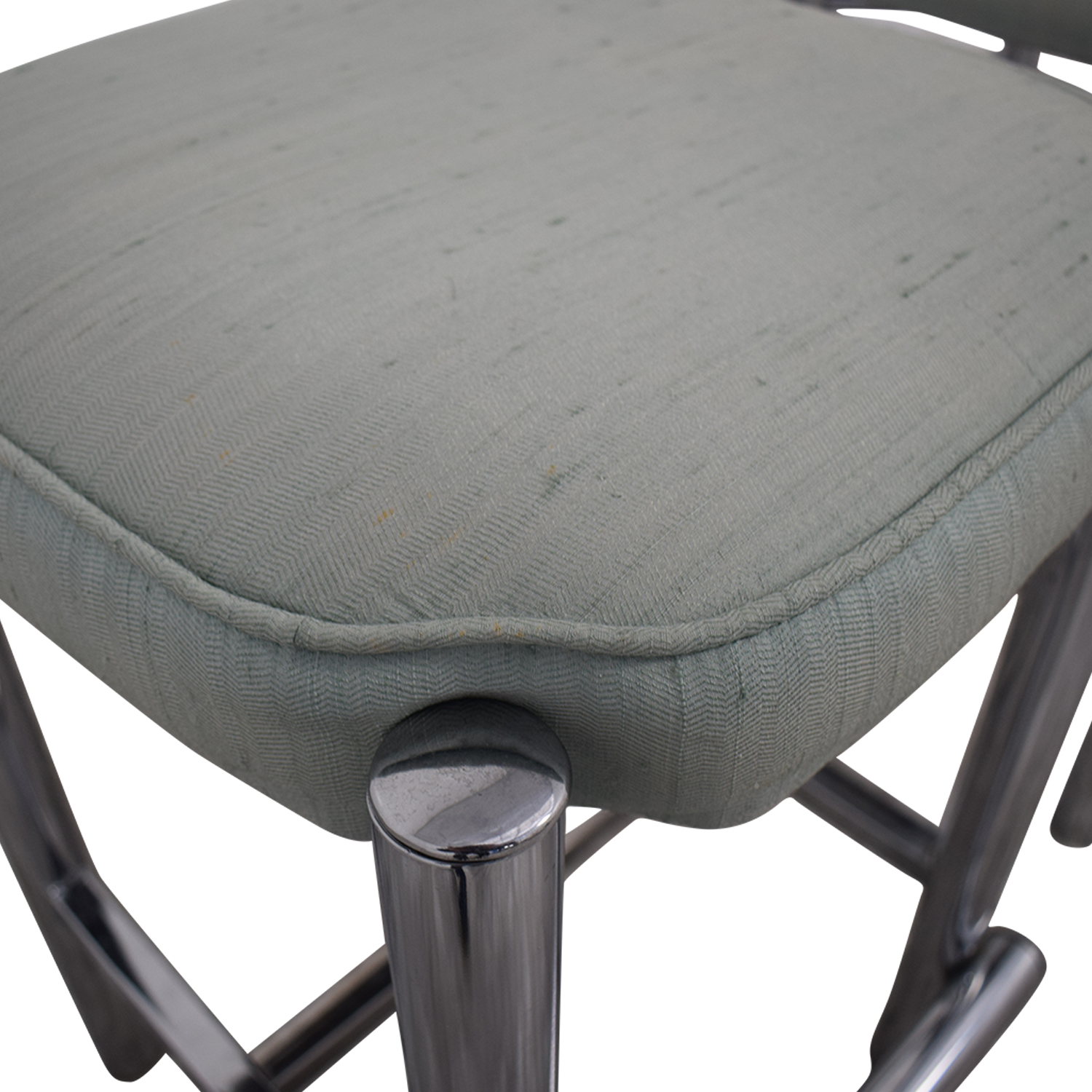 Chrome and Sage Green Upholstered Counter Stools nj