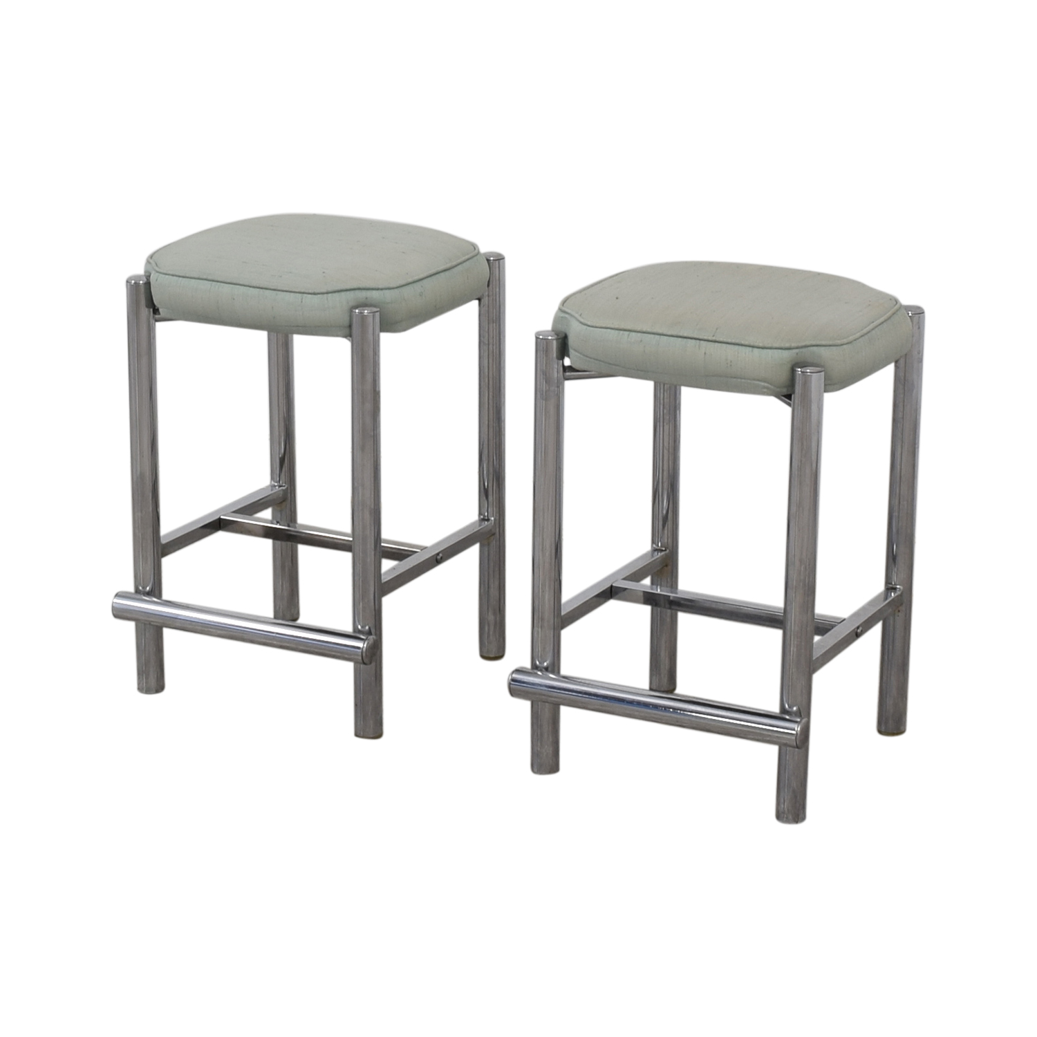shop Chrome and Sage Green Upholstered Counter Stools