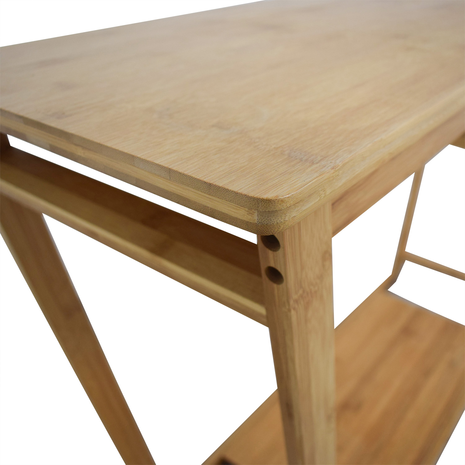 Bamboo Wood Single Drawer Desk or Table used