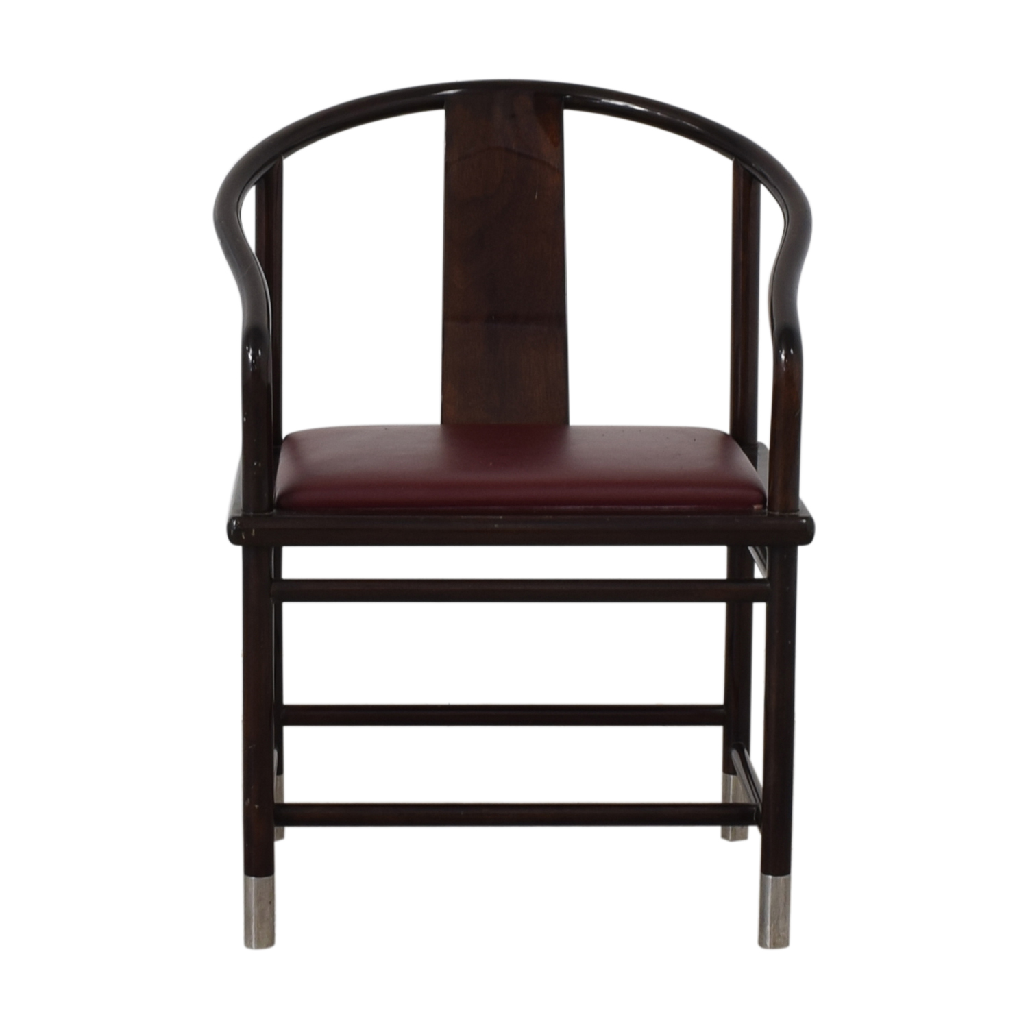 shop Brueton Wood and Burgundy Upholstered Accent Chair Brueton