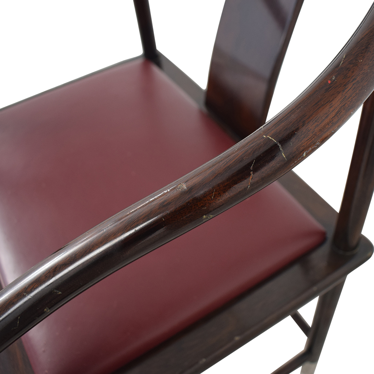 Brueton Brueton Wood and Burgundy Upholstered Accent Chair nj