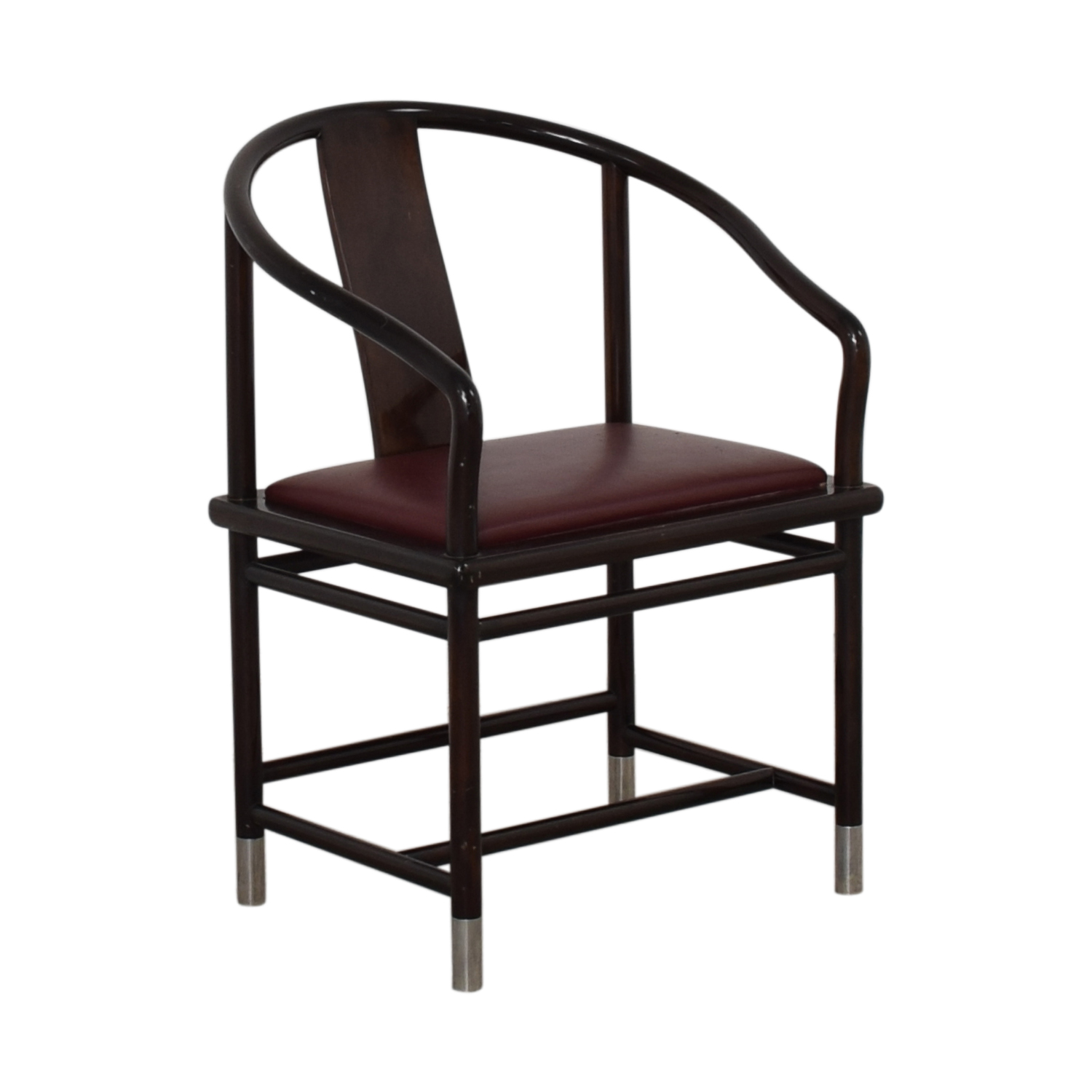 Brueton Brueton Wood and Burgundy Upholstered Accent Chair on sale