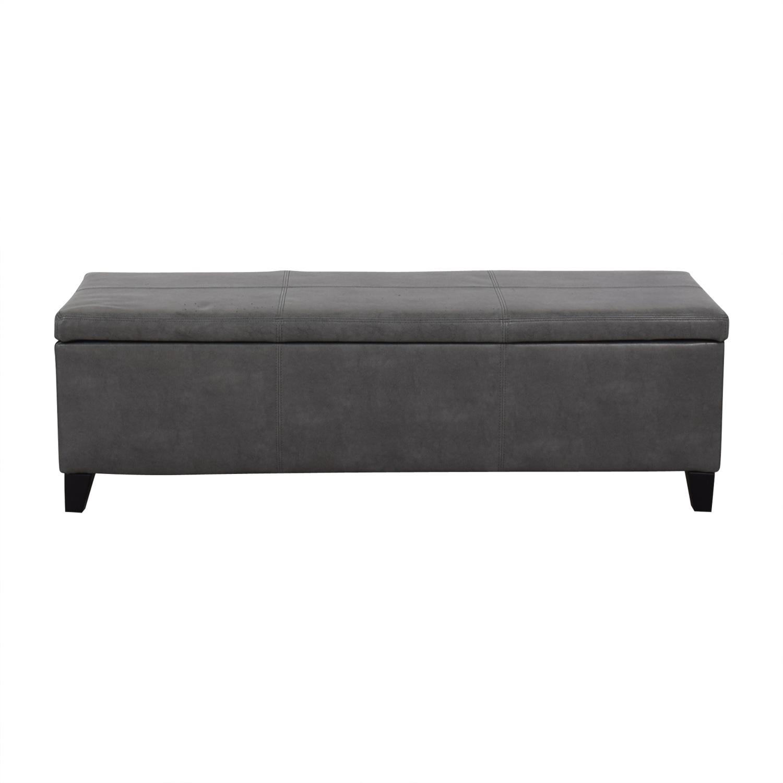 Grey Upholstered Storage Bench nyc