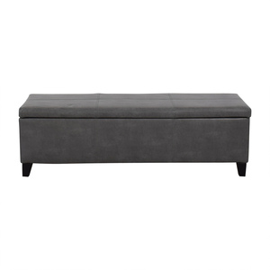 Grey Upholstered Storage Bench